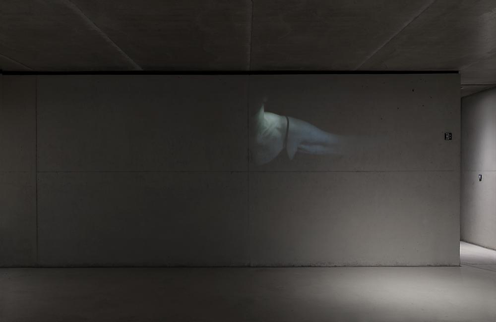 Resonanz, Serie 1, Ingeborg, Torso, 2018, Fotoprojektion mit Beamer in der Archäologischen Zone des Dommuseum Hildesheim, Ausstellungsansicht