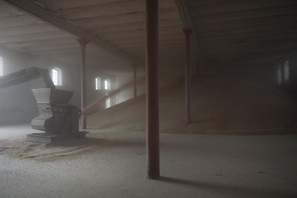 Täglich Brot, Serie 2, Ernte 2016, Bild 3, Fotografie, 40 x 60 cm, Mit Förderband und Schnecke wird die eingefahrene Getreideernte bei hoher Staubentwicklung auf den Berg transportiert. Die Motive der Serie entstanden bei Begleitung der Getreideernte 2016. Der Serie zu Grunde liegt die Frage danach, was für den Menschen in Wirklichkeit wichtig ist, wovon er lebt, was er braucht und wie er seine Wahrnehmung beschaffen ist. Anna Ullrich, Das Copyright © 2016 des Bildes liegt bei Anna Ullrich. Alle Rechte vorbehalten.